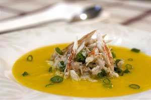 Carrot Soup with Crab Meat