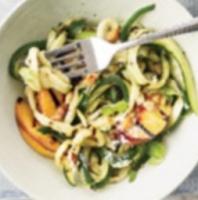 Zucchini, Peach, Macadamia Salad