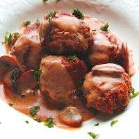 Beef and Mushroom Meatballs Bordelaise