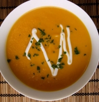 Curried Butternut Squash Soup with Asparagus Mousse