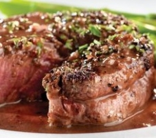 Pink Peppercorn Crusted Filet Mignon with Red Wine Peppercorn Sauce