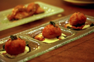 Goat Cheese Croquettes with Pumpkin Honey Mustard Sauce