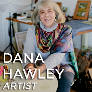 Dana Hawley sitting in art studio