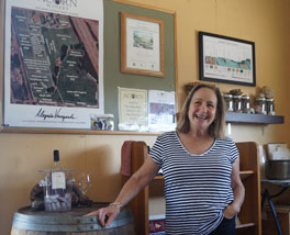 Betsy Nachbaur enjoys pouring for by-appointment visitors to ACORN's tasting room