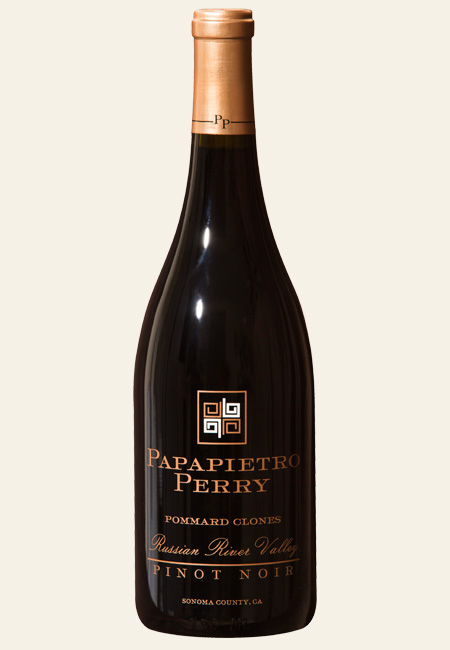 a bottle shot of Papapietro Perry Pommard Clones Pinot Noir Russian River Valley