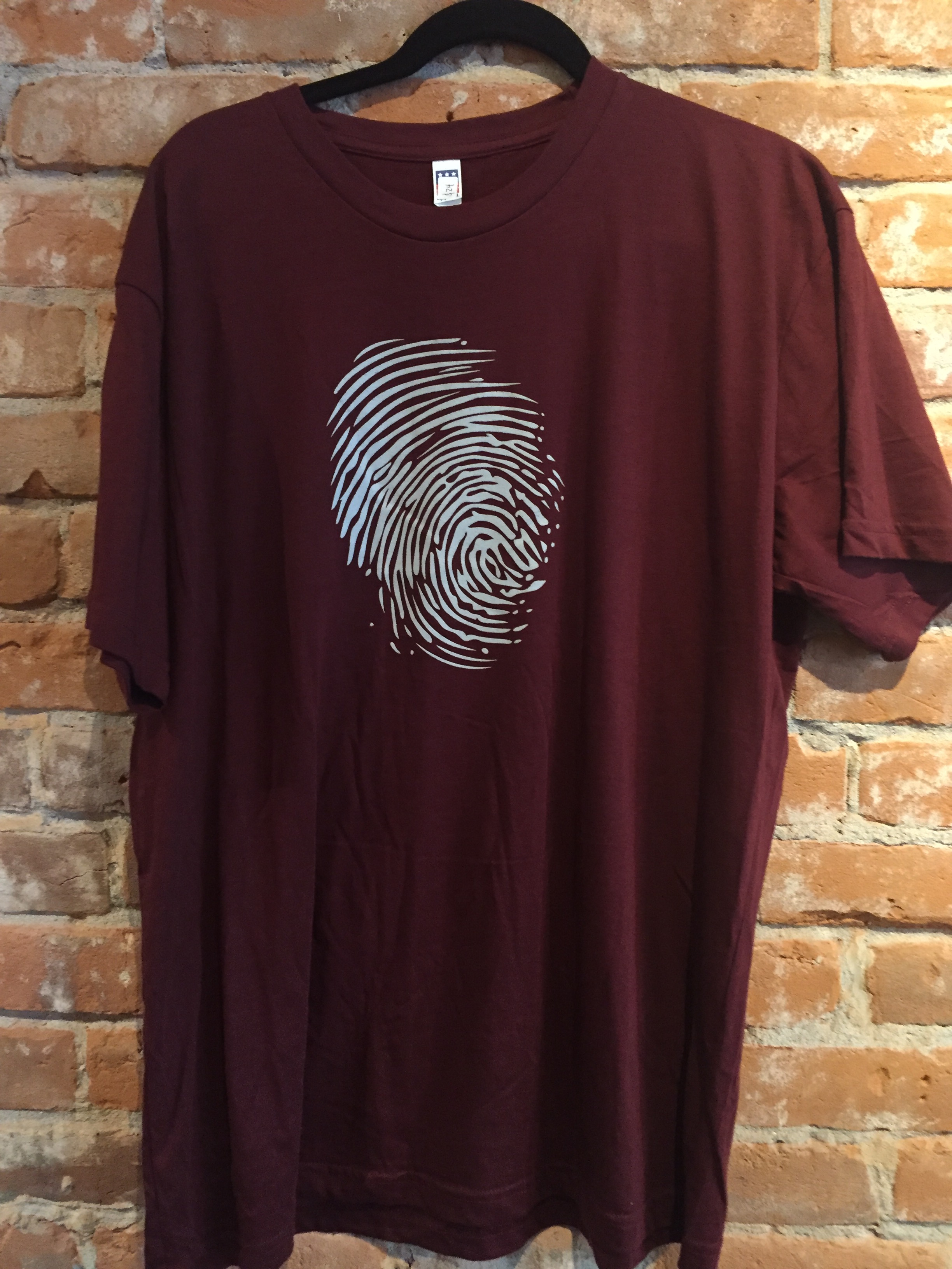 Tee-Shirt-Mens-Burgundy with Silver