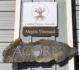 Alegria Vineyards and Acorn signs