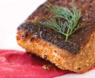 Pan Roasted Salmon, Dukkah & Beet Creme Fraiche