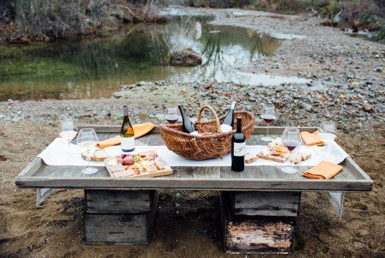table at creek