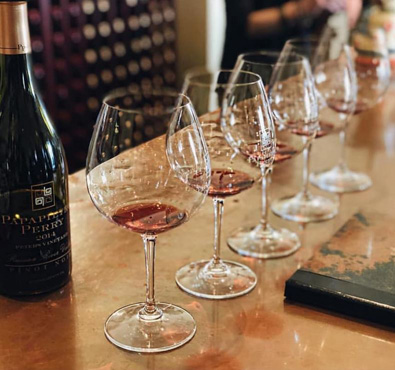 glasses of Pinot Noir ready for tasters to sip