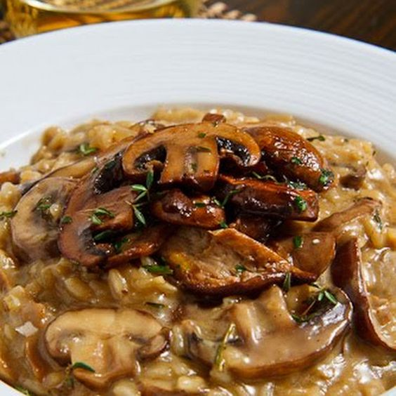 a bowl of Porcini Mushroom and Parmesan Risotto