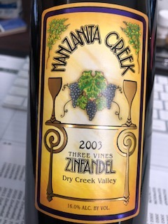 2003 Three Vines Zinfandel, Dry Creek Valley