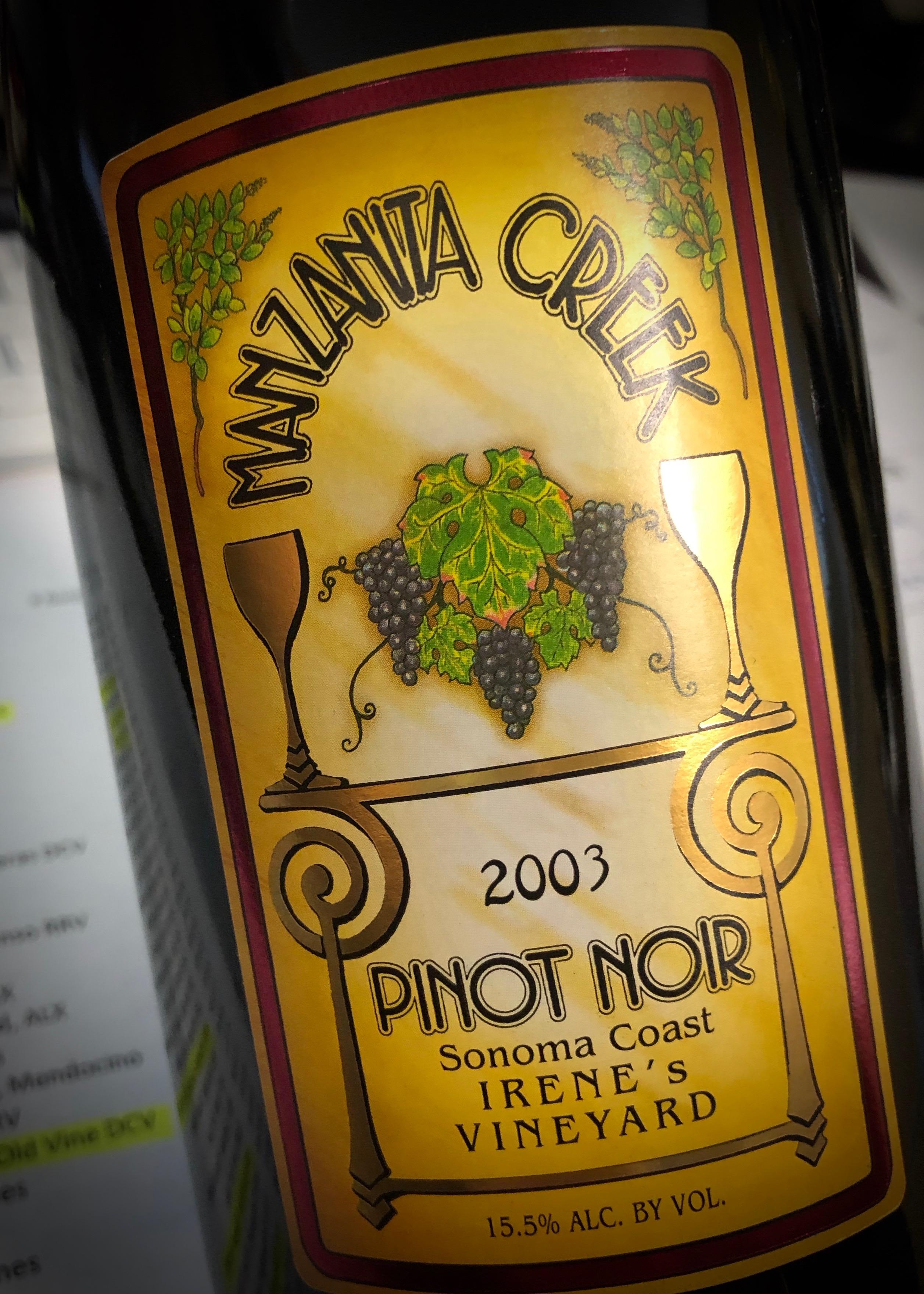 2003 Irene's Vineyard Pinot Noir, Sonoma Coast