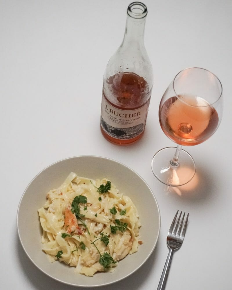 Dungeness Crab Linguine with Prosecco Lemon Sauce and Bucher Rose