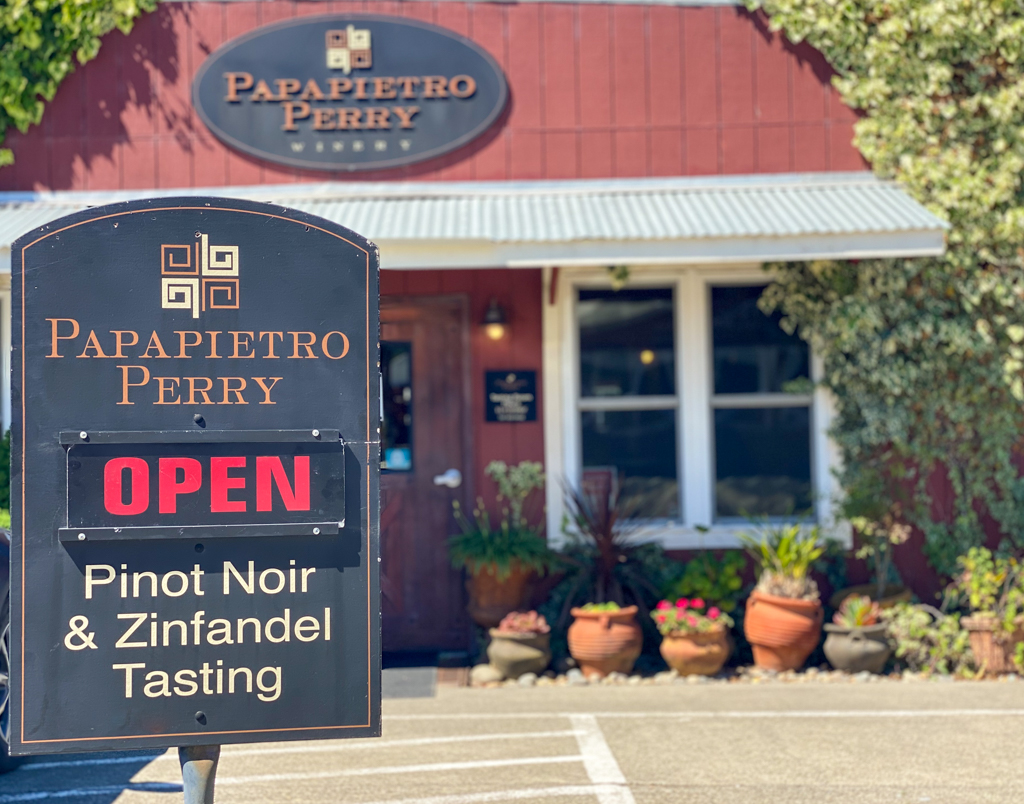 Papapietro Perry Tasting Room open sign