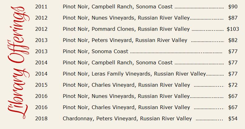 Library wine list
