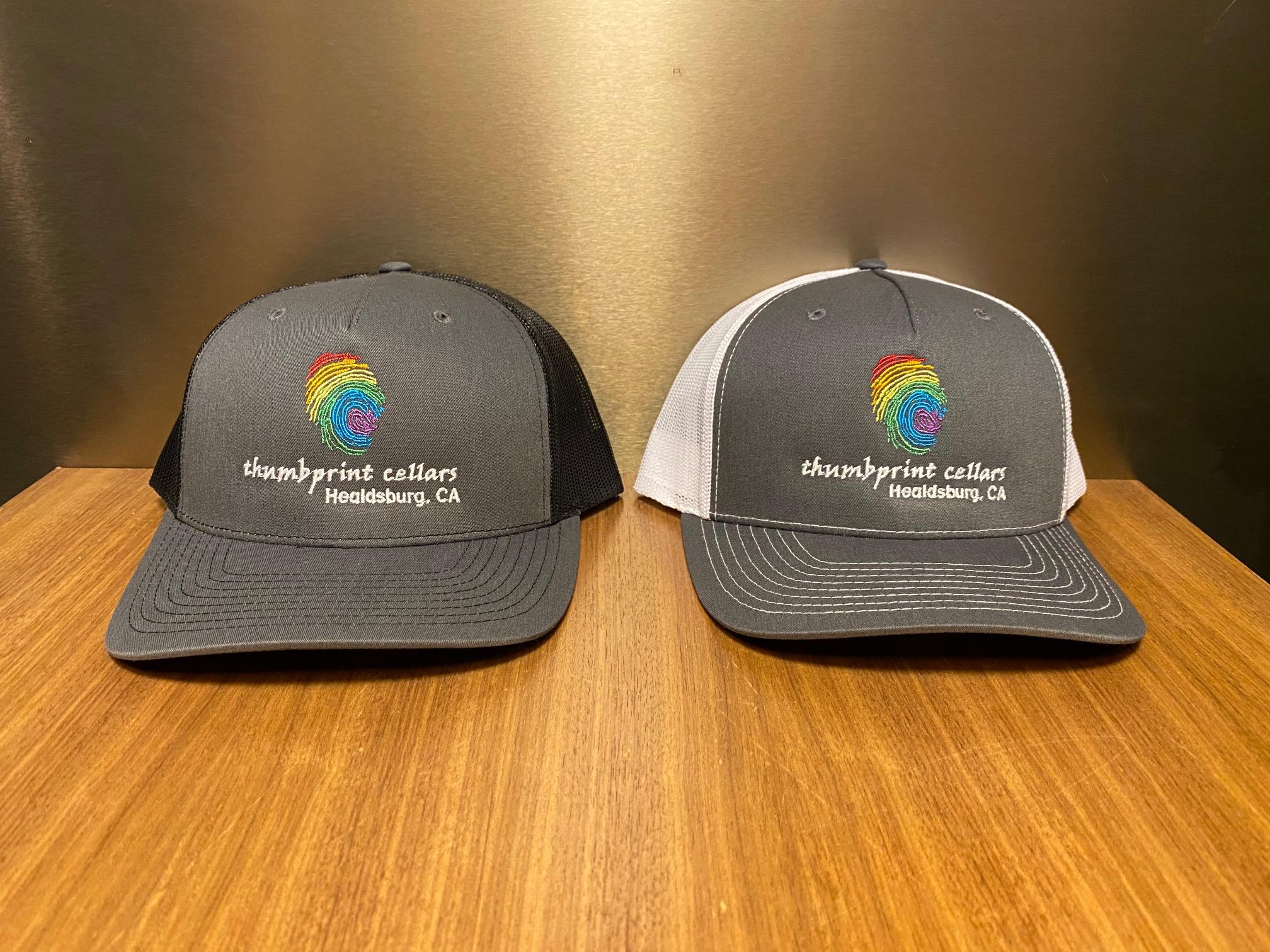 Trucker Hat Charcoal/Black- Rainbow Thumb