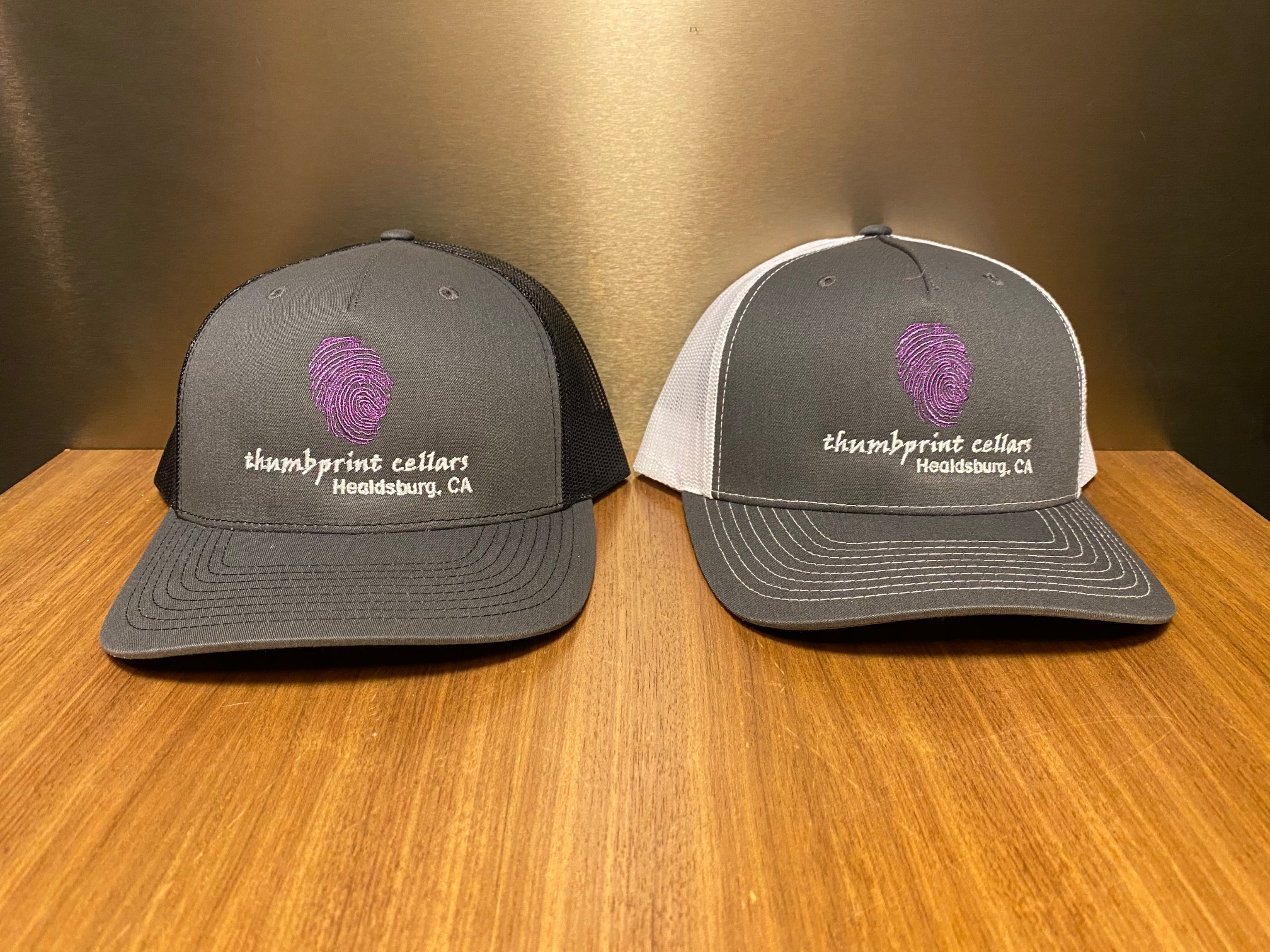 Trucker Hat Charcoal/White - Purple Thumb