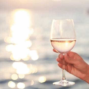 Glass of wine in sunlight