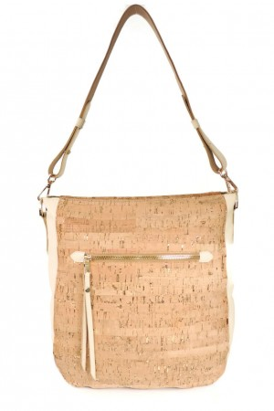 Spicer Bags Hobo Purse in Cork Dash Gold with Sand Leather Strap