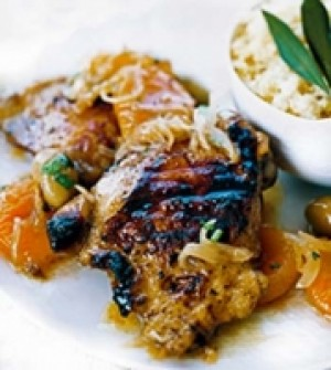Moroccan Chicken, Apricot and Olive Relish
