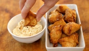 Crispy Crab Wontons with Curried Togarashi Dipping Sauce