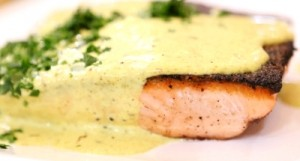 Pan Roasted Salmon with Spiced Cream Sauce