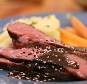 Rib Eye Steaks with Black Sesame Sauce