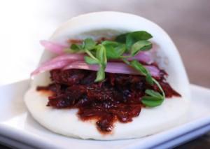 Char Siu Braised Pork Bao with Pickled Onions