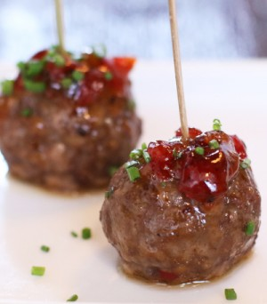 Bacon Jam Glazed Meatballs