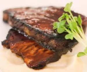 Black Currant Glazed Pork Belly with Celery Root Puree