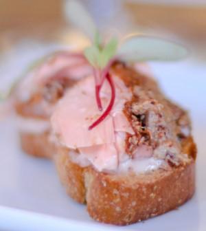 Smoked Steelhead Trout Crostini with Sweet Beet Horseradish Mustard Glaze