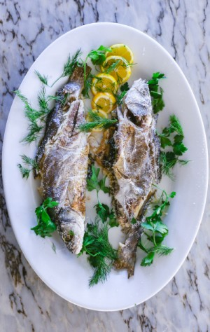 Salt Baked Whole Fish with Lemon and Herbs