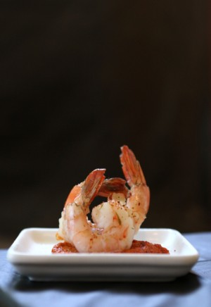 Poached Shrimp with Romesco Sauce