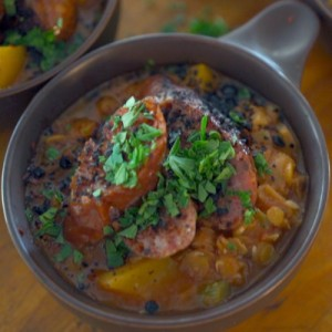 Spicy Lentils with Butternut Squash and Sausage